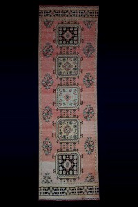 Turkish Rug Runner Antique Salmon Pink Runner Rug 3x11 Feet 104,330