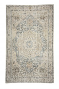 Turkish Carpet Rug Beige Blue Vintage Oushak Rug 7x11 Feet 200,320
