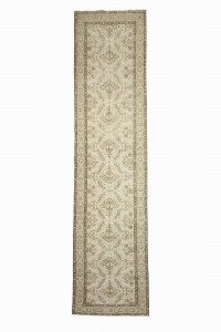 Turkish Rug Runner Beige Brown Oushak Rug Runner 3x13 Feet 95,380