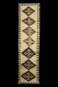 Turkish Rug Runner Beige Brown Rug Runner 3x10 Feet 85,307