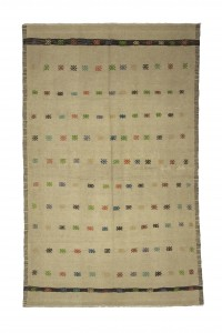 Turkish Natural Rug Beige Turkish Wool Kilim Rug 5x7 Feet  139,220