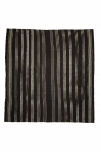 Goat Hair Rug Black and Gray Square Turkish Kilim Rug 8x8 Feet  250,261