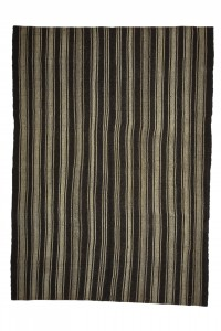 Goat Hair Rug Black And Gray Striped Turkish Kilim rug 7x10 Feet  213,292