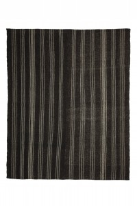 Goat Hair Rug Black And Gray Turkish Kilim Rug 6x8 Feet 198,238