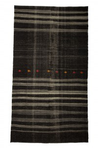 Goat Hair Rug Black And Gray Turkish Kilim Rug 7x12 Feet  202,361