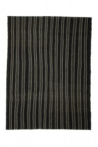 Goat Hair Rug Black And Gray Turkish Kilim Rug 7x9 Feet  198,265