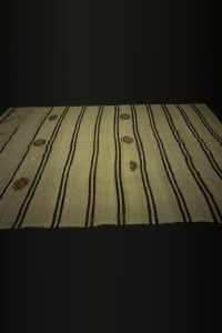 Black And Off White Turkish Hemp Kilim Rug 7x13 Feet 227,384 - Turkish Hemp Rug  $i