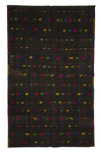 Goat Hair Rug Black And Pink Turkish Kilim Rug 6x10 Feet  180,295