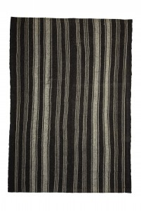 Goat Hair Rug Black And White Striped Turkish Kilim rug 7x10 Feet  212,305