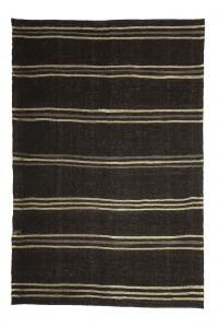 Goat Hair Rug Black And White Turkish Kilim Rug 5x8 Feet  165,245