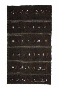 Goat Hair Rug Black Turkish Kilim Rug 5x9 Feet  162,286