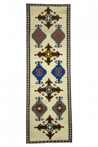 Turkish Rug Runner Blue Brown Kilim Rug Runner 4x11 Feet 110,340