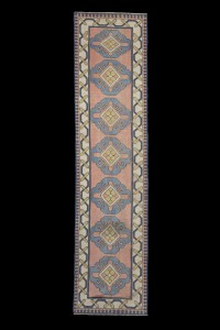 Turkish Rug Runner Blue Handmade Rug Runner 3x10 Feet 78,317
