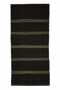 Goat Hair Rug Brown And Cream Striped Turkish Kilim Rug 5x11 Feet  157,337