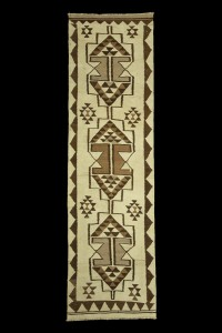 Turkish Rug Runner Brown And Cream Turkish Flat weave Kilim Rug Runner 3x10 Feet 88,304