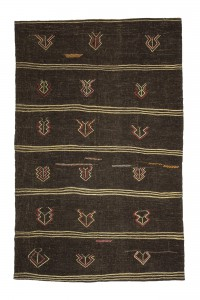 Goat Hair Rug Brown Turkish Flat Weave Kilim Rug 6x9 Feet  179,281