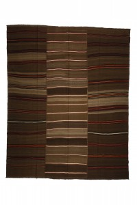 Turkish Natural Rug Coffee Brown Wool Turkish Kilim rug 9x11 Feet  277,346