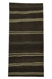 Goat Hair Rug Cream Striped Dark Brown Turkish Kilim rug 5x10 Feet 158,323
