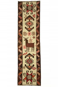 Turkish Rug Runner Deer Motive Turkish Kilim Rug Runner 3x11 Feet 93,338