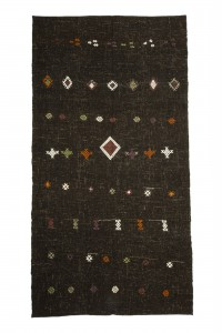 Goat Hair Rug Embroidered Brown Turkish Kilim Rug 5x9 Feet  154,290