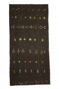 Goat Hair Rug Embroidered Dark Brown Turkish Kilim Rug 5x10 Feet  152,310