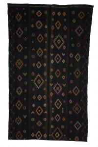 Turkish Natural Rug Faded Black Turkish Flat weave Kilim rug 6x10 Feet  184,314