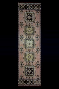 Turkish Rug Runner Faded Salmon Pink Runner Rug 3x12 Feet 101,358