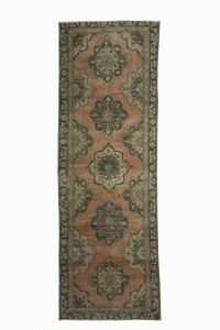 Turkish Rug Runner Geometric Oushak Rug 4x13 Feet 130,382