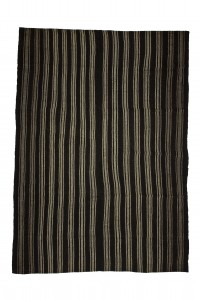 Goat Hair Rug Gray And Black Striped Turkish Kilim Rug 8x11 Feet 245,341