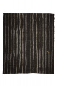 Goat Hair Rug Gray And Black Striped Turkish Kilim Rug 8x9 Feet  240,278
