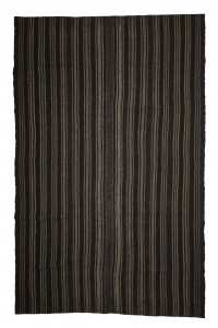 Goat Hair Rug Gray And Black Turkish Kilim rug 7x10 Feet  204,315