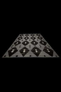 Gray And Brown Modern Turkish Kilim Rug 8x10 Feet  247,319 - Turkish Hemp Rug  $i