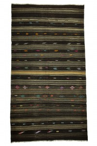 Goat Hair Rug Gray And Brown Striped Turkish Kilim Rug 7x12 206,369