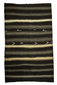 Goat Hair Rug Gray And Dark Brown Turkish Kilim Rug 7x10 Feet  206,314