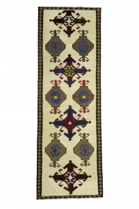 Turkish Rug Runner Gray Blue Kilim Rug Runner 4x11 Feet 114,339