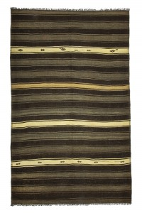 Goat Hair Rug Gray Dark Brown Turkish Kilim Rug 7x12 Feet  220,358