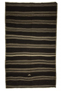 Goat Hair Rug Gray Striped Black Turkish Kilim rug 7x12 Feet  218,362