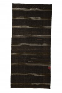 Goat Hair Rug Gray Striped Dark Brown Turkish Kilim Rug 5x11 Feet  157,332