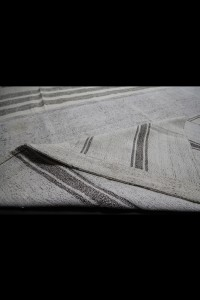 Gray Striped White Turkish Cotton Kilim Rug 11x16 Feet  326,498 - Turkish Natural Rug  $i