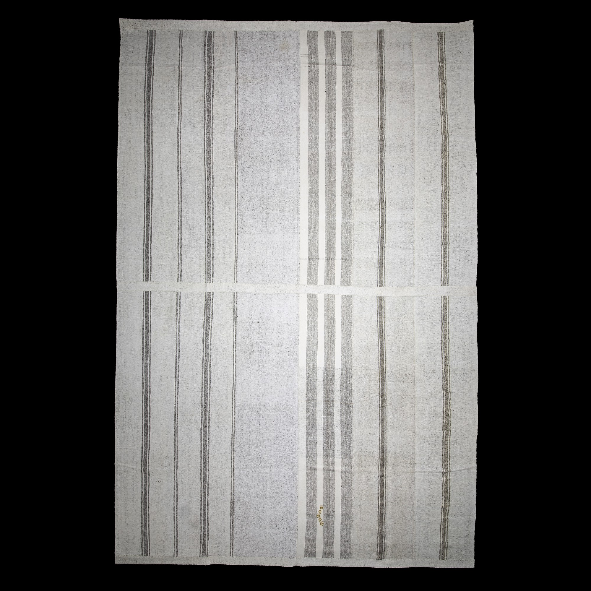 Gray Striped White Turkish Cotton Kilim Rug 11x16 Feet  326,498 - Turkish Natural Rug