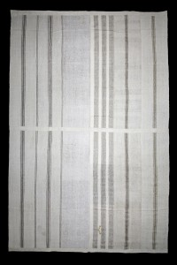 Turkish Natural Rug Gray Striped White Turkish Cotton Kilim Rug 11x16 Feet  326,498