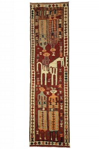 Turkish Rug Runner Horse And Human Pattern Kilim Rug Runner 3x11 90,325