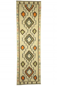 Turkish Rug Runner Letter Characters on Kilim Runner Rug 3x12 Feet 105,360