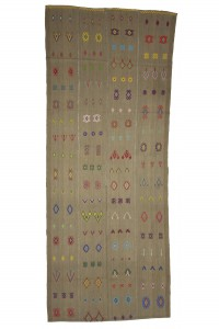 Turkish Natural Rug Light Brown Turkish Flat Weave Kilim Rug 5x12 Feet  143,368