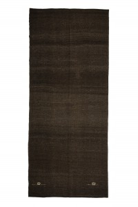 Goat Hair Rug Lond Dark Brown Turkish Kilim Rug 6x14 176,414