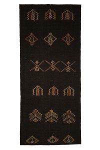 Goat Hair Rug Long Turkish Brown Kilim Rug 6x13 Feet  170,396