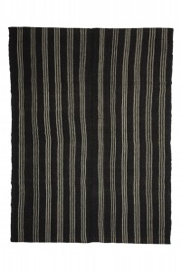 Goat Hair Rug Modern Black And White Turkish Kilim rug 6x8 Feet  184,253