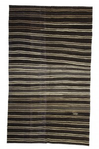 Goat Hair Rug Modern Striped Turkish Kilim Rug 6x10 Feet  176,291