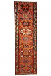 Turkish Rug Runner Multicoloured Turkish Kilim Rug 3x11 Feet 98,324