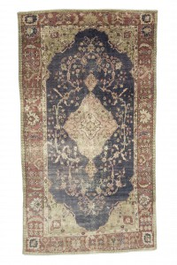Turkish Carpet Rug Navy Blue Vintage Oushak Carpet Rug 5x9 Feet 160,284